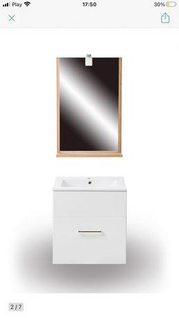 Lustro z półką drewno 55x80 cm