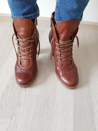 Ботинки сапоги полуботинки на шнуровке кожа тракторная подошва