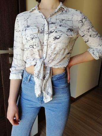 Biało-czarna koszula marmur