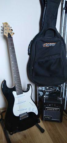 Gitara elektryczna Samick MB-1 MBK Malibu + wzmacniacz, pokrowiec
