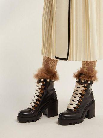Gucci оригинал Италия теплые кожаные ботинки с мехом