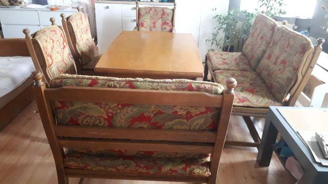 Zestaw dębowy stół plus krzesła i ławki