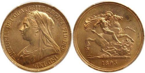 zlota moneta 1895 GREAT BRITAIN VICTORIA złoto 5 pounds