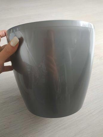 Doniczka srebrna metaliczna plastikowa śr. 21 cm