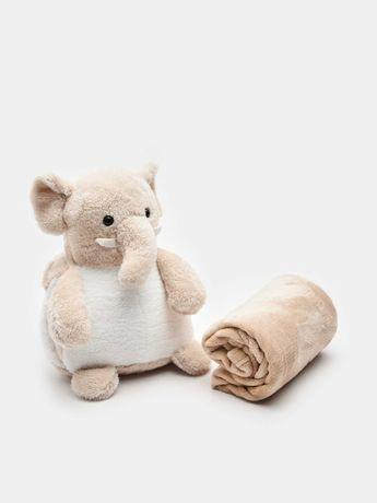 """М'яка іграшка + дитячий плед  комплект  """" Слоненя """" ."""
