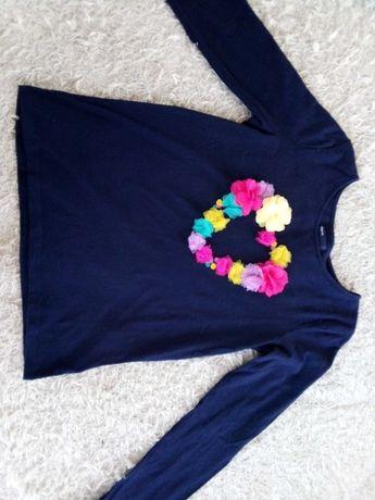 Granatowa bluzka z aplikacją 3D 146-152 +pasek gratis