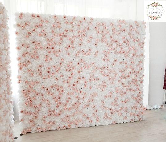 ścianka z kwiatów 2,3m x 2,3m składany stelaż RÓŻNE WZORY kwiatowe tło
