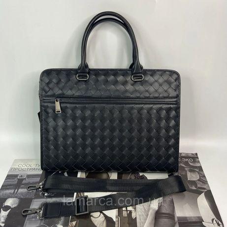 Мужской деловой портфель Bottega Veneta чёрный чоловічий діловий