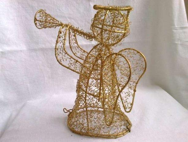 Aniołek bożonarodzeniowy złoty mieniący się