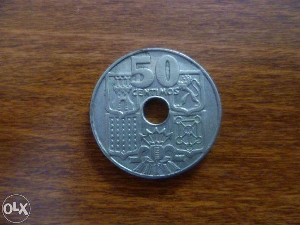Moeda 50 centimos espanha 1949