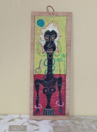 Obraz na Desce - Seria Afryka - Olej na desce - Afryka I