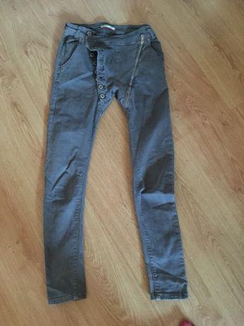 Super spodnie oliwkowe suwaki butik S
