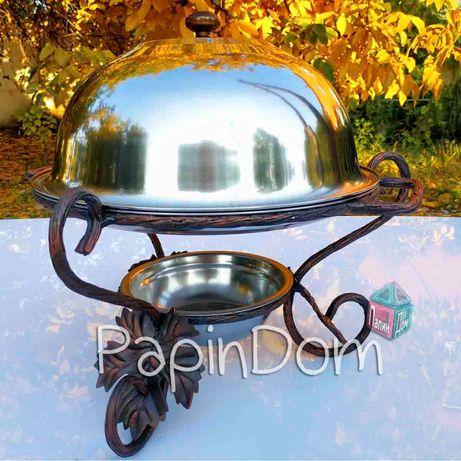Садж Подставка для шашлыка 28см Виноградный лист с крышкой