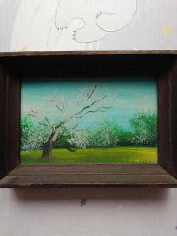 Mały olejny obrazek miniatura Pora roku wiosna drzewo