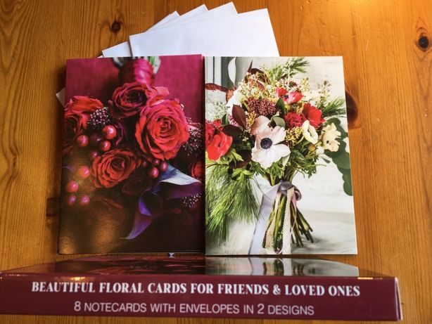 Kartki pocztowe 8 szt. duże rozkładane w kwiaty z kopertami 2 wzory