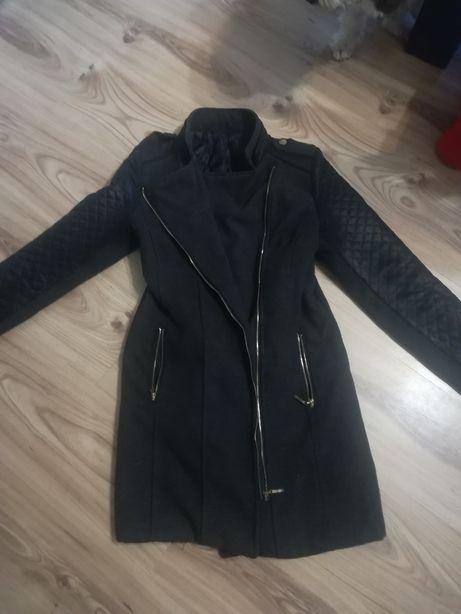 Płaszcz płaszczyk skórzane rękawy S/M