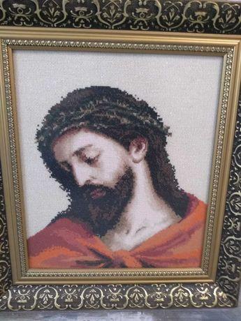 """Картина """" Исус"""" вишита хрестиком, ручна робота та якісна рамка"""