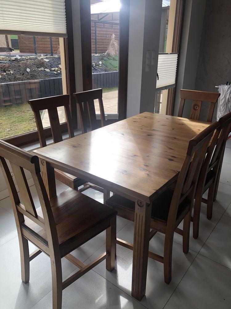 Stół drewniany rozkładany i 8 krzeseł