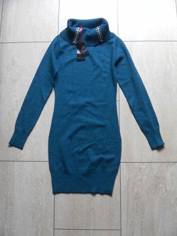 Nowa niebieska sukienka sweter Melrose 34,XS golf