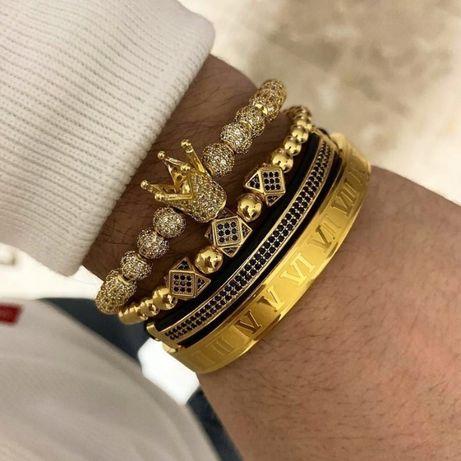 LIKWIDACJA SKLEPU -4x bransoletka męska koraliki złota korona zestaw
