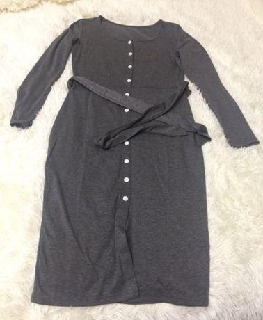 Продам или обменяю платье, темно серое, с поясом, на пуговицах