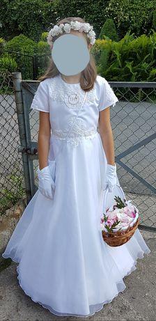 Suknia komunijna rozm. 134 bolerko wianek rękawiczki torebka