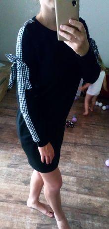 Czarna dresowa sukienka reserved wiązane rękawy xs