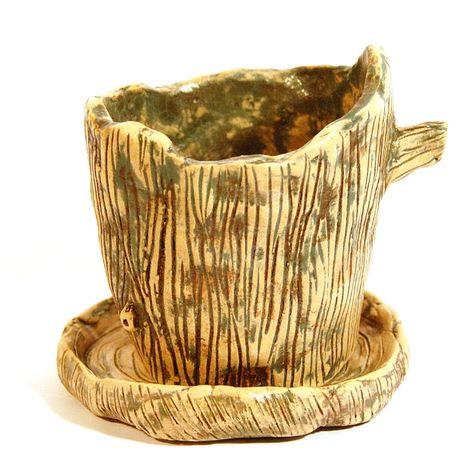 Doniczki ceramiczne z podstawką nowe. Unikat