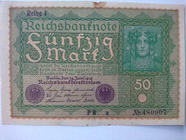 Banknot 50 marek z 1919r.