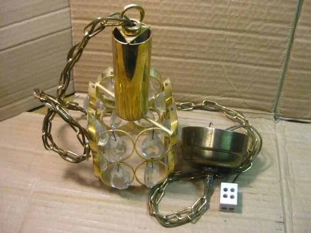 Stary mosiężny,kryształowy żyrandol