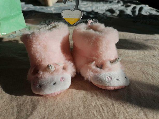 Nowe buciki niemowlęce dla dziewczynki miękkie jednorożce
