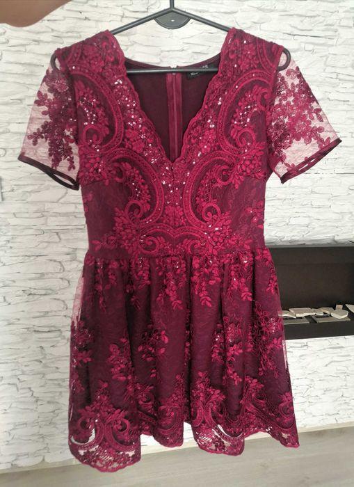 Sukienka bordowa burgundowa koronka Emu 38 Sochaczew - image 1
