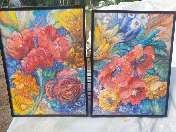 2 obrazy w kwiaty ! Kolorowe!