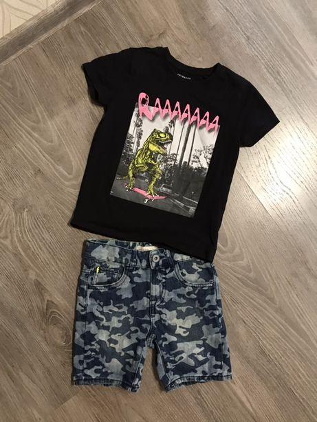 Крутой набор футболка с динозавром джинсовые шорты как next милитари