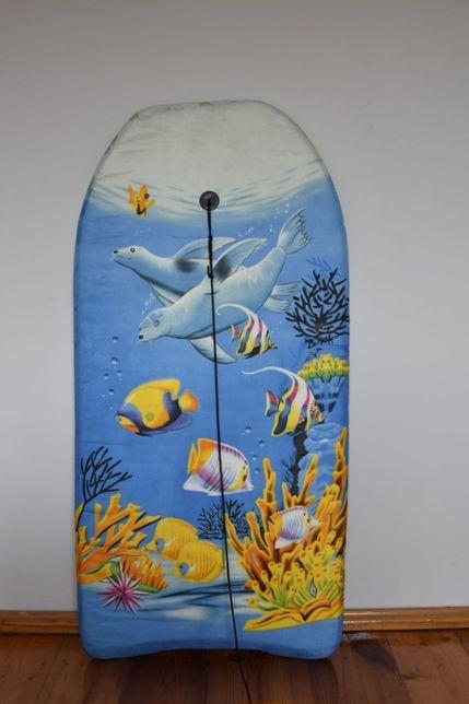 Deska bodyboard, deska do pływania na falach z leashem