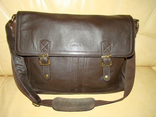 skórzana, brązowa torba/teczka - skóra naturalna