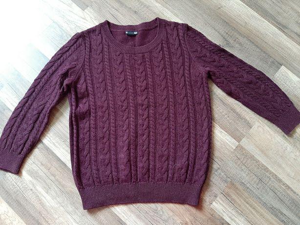 Свитер пуловер бордовый вязанный