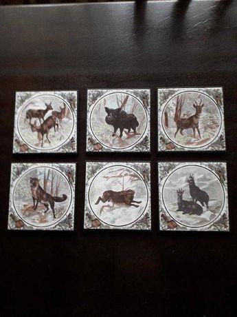 Obrazy na ceramice Servais Germany myśliwy łowiectwo