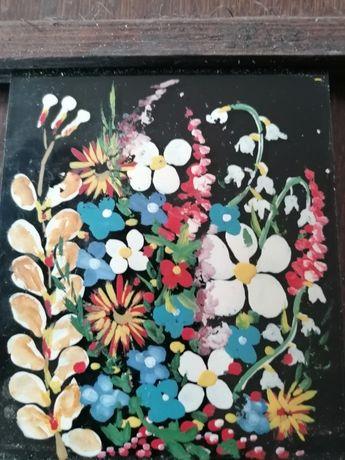 Mały ręcznie malowany obrazek na szkle