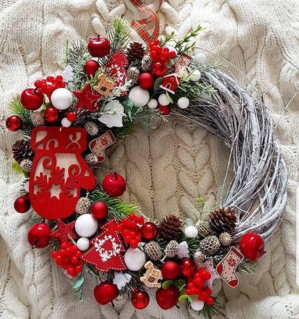 Wianek świąteczny święta boże narodzenie ozdoba dekoracja wieniec