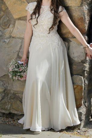 Suknia ślubna GALA w kolorze ecru z muślinowym dołem + welon GRATIS