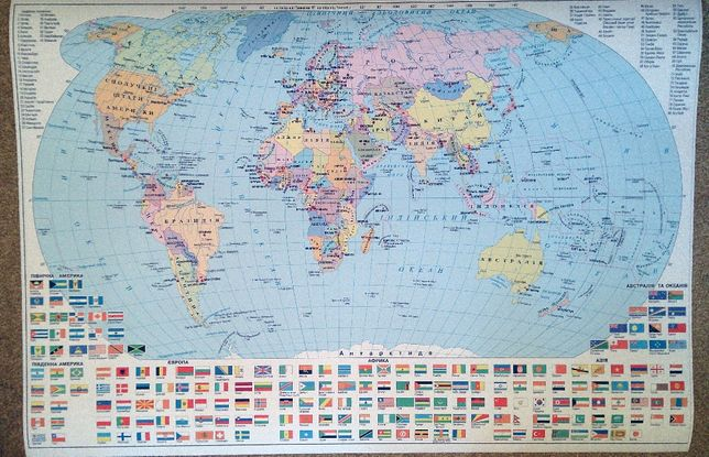 Карта мира с флагами стран