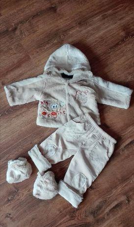 NOWY śliczny komplet dla chłopca futerko kurtka buciki spodnie3 części