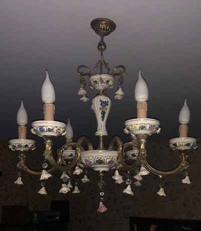 stylowa, porcelanowa lampa sufitowa stan bardzo dobry