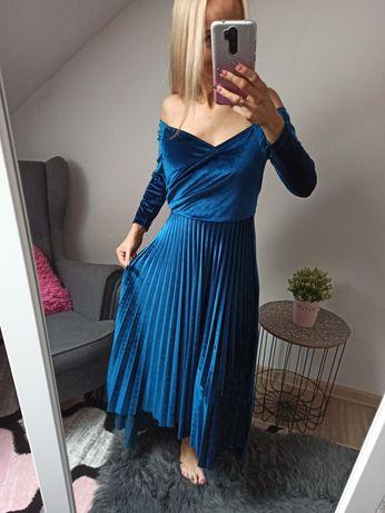 Welurowa sukienka plisowana ASOS rozmiar M