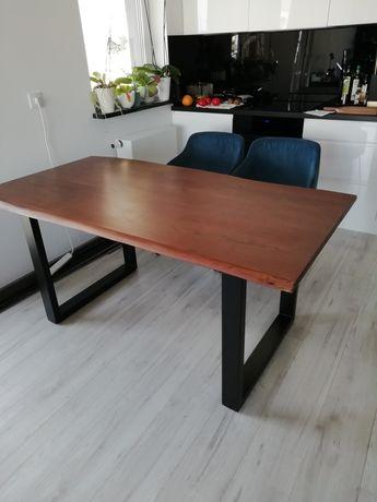 Stół 160x90 drewniany drewno akacja metalowe nogi naturalny brzeg