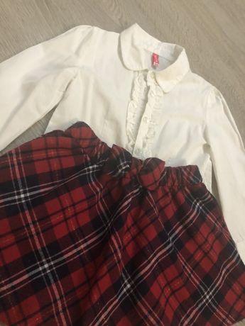 Bluzeczka Koszula biała z żabocikiem spódniczka HM