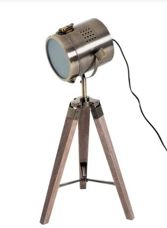LAMPKA STOŁOWA na trzech nogach LAMPA RETRO E14 drewniana brąz