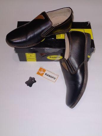 Кожаные туфли для мальчика черного цвета 34 размер (22,5 см)