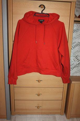 Pomarańczowa ceglasta luźna krótsza bluza z kapturem kangurka oversize